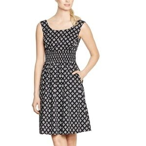 Geometric print fit and flare dress with pockets!